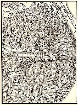 1941 Vintage ST LOUIS MAP of St Louis Black and White Gallery Wall Art 3222