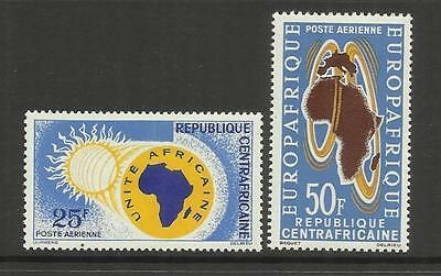 Central African Republic ~ 1963 Air Mail  Commemoratives (2) Mint Mh