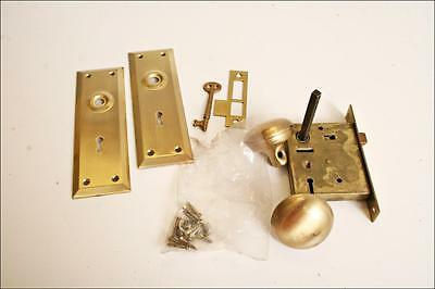 Vintage Deadbolt Lock knob & skeleton key brass gold metal door hardware set