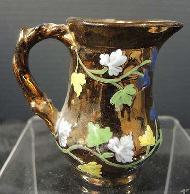 """Beautiful Embossed Hand Painted Leaves Copper Luster Pitcher * 3 1/4"""" Tall"""