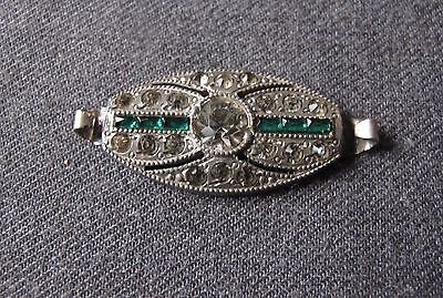 Antique 1920's Art Deco Jeweled Silvered Metal Medallion For Jewelry Making