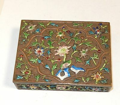 Old Chinese Cloisonne Repousse Enamel Floral Design Humidor Jar Box