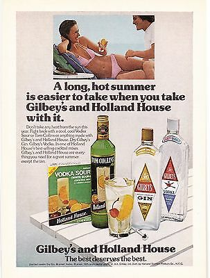 Original Print Ad-1975 A long hot summer is easier to take-GILBEYS&HOLLAND HOUSE