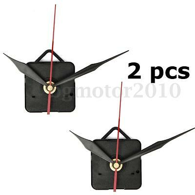 2Pcs DIY Black & Red Hand Wall Quartz Clock Mechanism Movement Repair Part Set