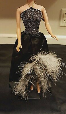 VINTAGE Barbie fashion 1980s SERGIO VALENTE. BLACK DRESS WITH FEATHERS, PRETTY