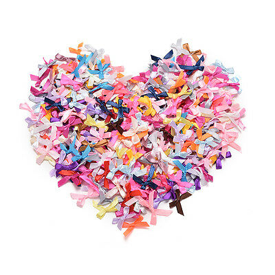 500X Assorted Mini Satin Ribbon Bows Tied Craft Embellishment Wedding Decor HU