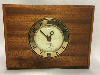 Vintage 1950s Sessions Electric Alarm Clock Radio in Wood Case Model SW