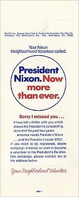 Official 1972 Richard Nixon Neighborhood Volunteer Door-Hanger (2715)