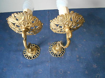 Pair Vintage French Brass WALL LIGHT lamp SCONCES / filigree