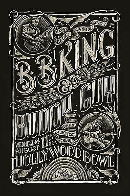 Blues: BB King & Buddy Guy at Hollywood Bowl Concert Poster 12x18