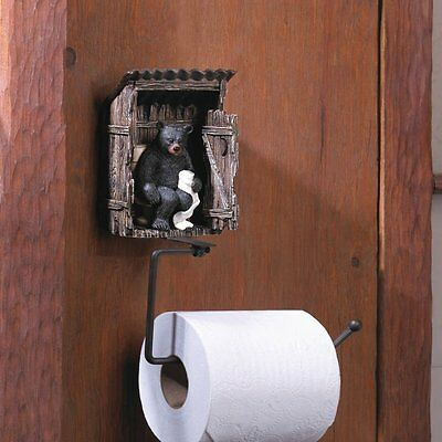 Adorable Rustic Cabin Woods Black Bear Outhouse Toilet Paper Holder NEW Decor