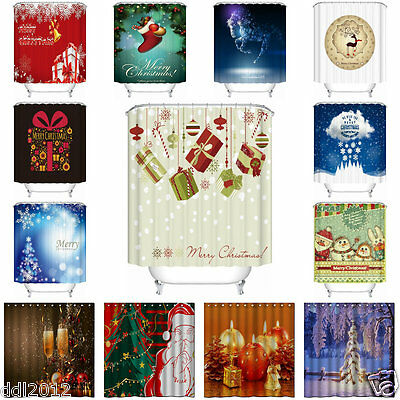 Shower Curtain Fabric Waterproof Bathroom Xmas Party Design Polyester 12 Hooks