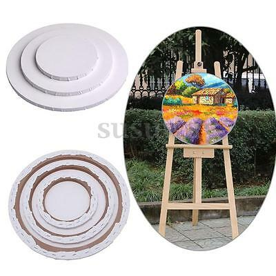 Blank Round Canvas Board Art Artist Oil Acrylic Primed Wooden Frame Painting