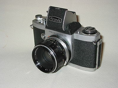 MIRANDA F SLR CAMERA WITH 50mm LENS WITH EVER READY CASE.