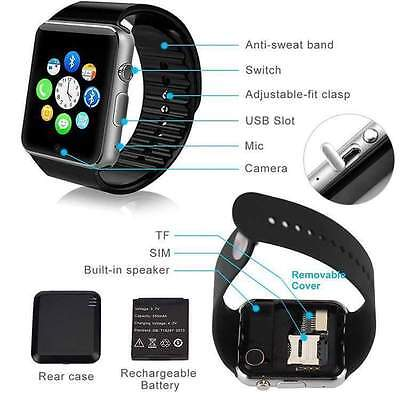 NUOVO SMART WATCH A1 SIM Orologio Telefono Touch Screen SMARTPHONE ANDROID NERO