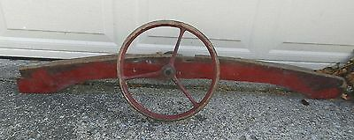 Antique Wooden Motor Boat Dashboard Steering Wheel Turn Mechanism Red Paint OLD