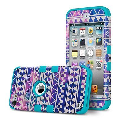 For iPod Touch 5/ 6th Gen Pattern High Impact Armor Hard&Soft Rubber Hybrid Case
