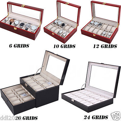 624 Grids Watch Jewelry Display Case PU Leather Jewelry Storage Box