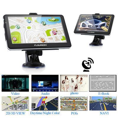 "FLOUREON 7"" Touch Screen Per Camion GPS Navigatore Satellitare FM Navi MP4 8GB"