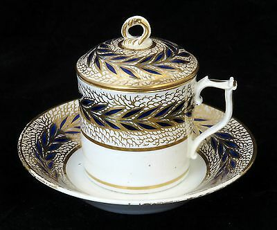 Antique Derby Porcelain Lidded Coffee Can /chocolate Cup & Saucer With Lid C1820