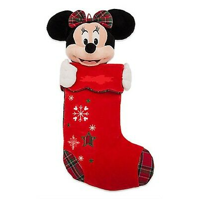 Disney Store Minnie Mouse Christmas Stocking Plush Head Red 2016 New