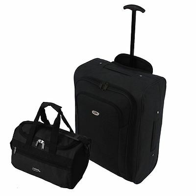 Set of Ryanair Cabin Trolley Wheeled Luggage Holdall Small Bag Case Black
