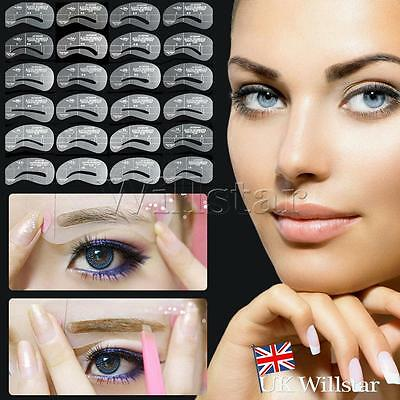 Pro Eyebrow Shape Stencil Shaper Grooming Kit Brow MakeUp Template Tool Reusable