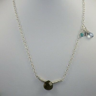 Boho Chic  Labradorite and Tribe Hill Charm Sterling Silver Necklace
