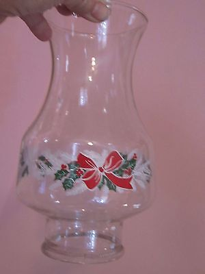 Clear Glass Lamp Shade Candle Oil Hurricane Globe Clear Christmas Holly Bow 8.5""