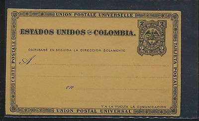 Colombia  postal  card 2 cent unused  pristine  condition                 MS0827