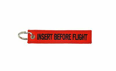 Insert after flight red keychain key ring tag luggage Remove before black red