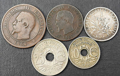 5 Old French Coins ~1854 - 1930 ~ France