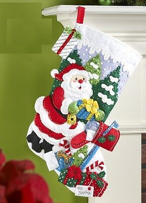 """Bucilla 18"""" Christmas Felt Stocking Kit """"Santa Delivers the Mail"""" Presents Candy"""