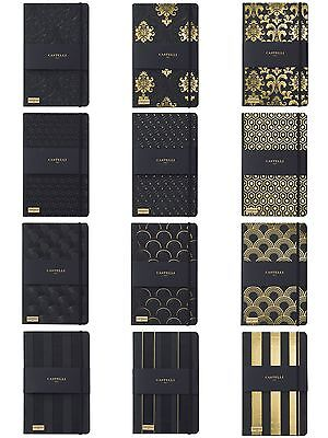 Castelli Italian Black & Gold Collection Ruled Notebook Journals 4 Designs
