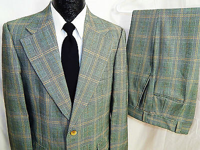 2 pc Vtg 70's Lytton's Men S SLIM MoD Blue Gold PLAID Wool Suit RETRO 38 R 34/29