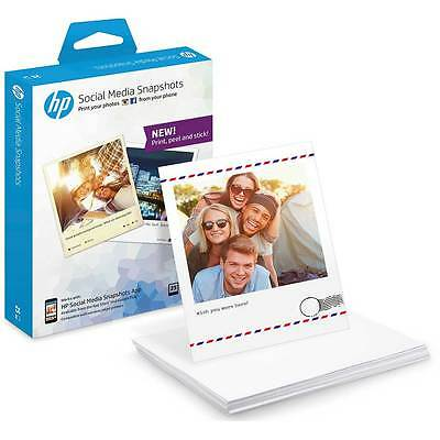 HP Social Media Snapshots Removable 10x13cm Sticky Photo Paper-25 Sheets