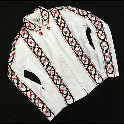 141911 Wire Horse LTD. Ladies White Horse Show Tunic Jacket Red & Black NEW