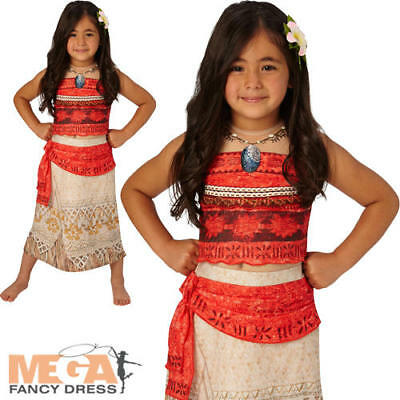Deluxe Moana Girls Fancy Dress Hawaiian Disney Princess Book Day Childs Costume