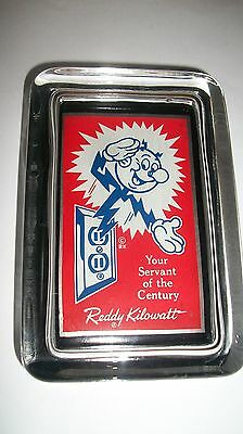 REDDY KILOWATT Blue Logo ELECTRIC Howdy Red Advertising Sign GLASS PAPERWEIGHT