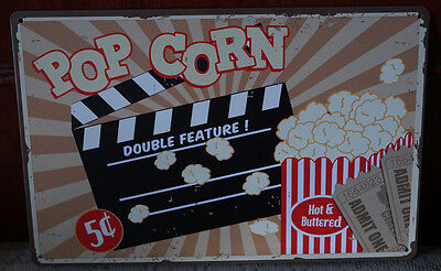 POP CORN DOUBLE FEATURE! Metal Tin Sign Cafe Home Decor