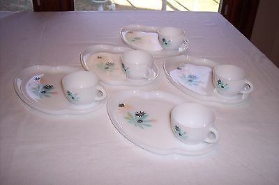Set of 5 Federal Glass - FEG7 (Aqua/Black Floral) - Snack Plates and Cups