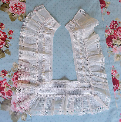 Antique Lace Netting Collar With Beaded Ribbon #43