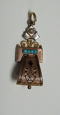 Vintage Victorian Gold Filled & Niello Lavalier w/ Turquoise