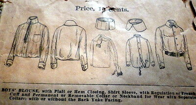 RARE VTG 1900s BOYS SHIRT BUTTERICK Sewing Pattern 10 YEARS