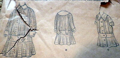 RARE VTG 1900s GIRLS DRESS BUTTERICK Sewing Pattern 8 YEARS