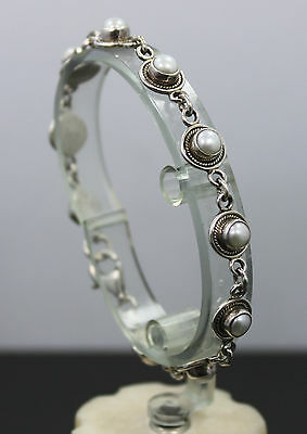 """Sterling Silver Round Link Bracelet with Pearls 7"""""""