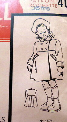 RARE VTG 1940s GIRLS COAT FRENCH Sewing Pattern 1-3 YEARS