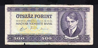 1990 Hungary Paper Money (Banknote). 500 Forint  Used.