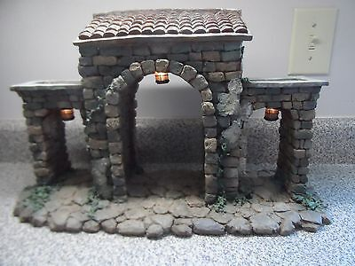 Fontanini Town Gate Lighted Retired By Roman #50252