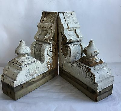 Antique Pair(2) 1890's Wood Corbels Brackets Victorian Gingerbread White Chic A6